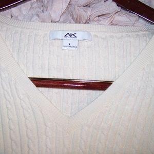 Anne Klein Sport Cable Knit V Neck L/S  Sweater L
